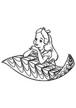 Раскраска - Алиса в Стране чудес - Алиса опёрлась на лист