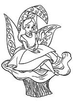 Раскраска - Алиса в Стране чудес - Алиса сидит на грибе