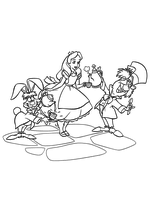 Раскраска - Алиса в Стране чудес - Алиса, Шляпник и Мартовский заяц