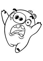 Раскраска - Angry Birds в кино - Свинья-миньон убегает