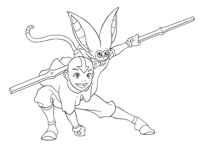 Raskraska Avatar Legenda Ob Aange Aang I Momo Mirchild