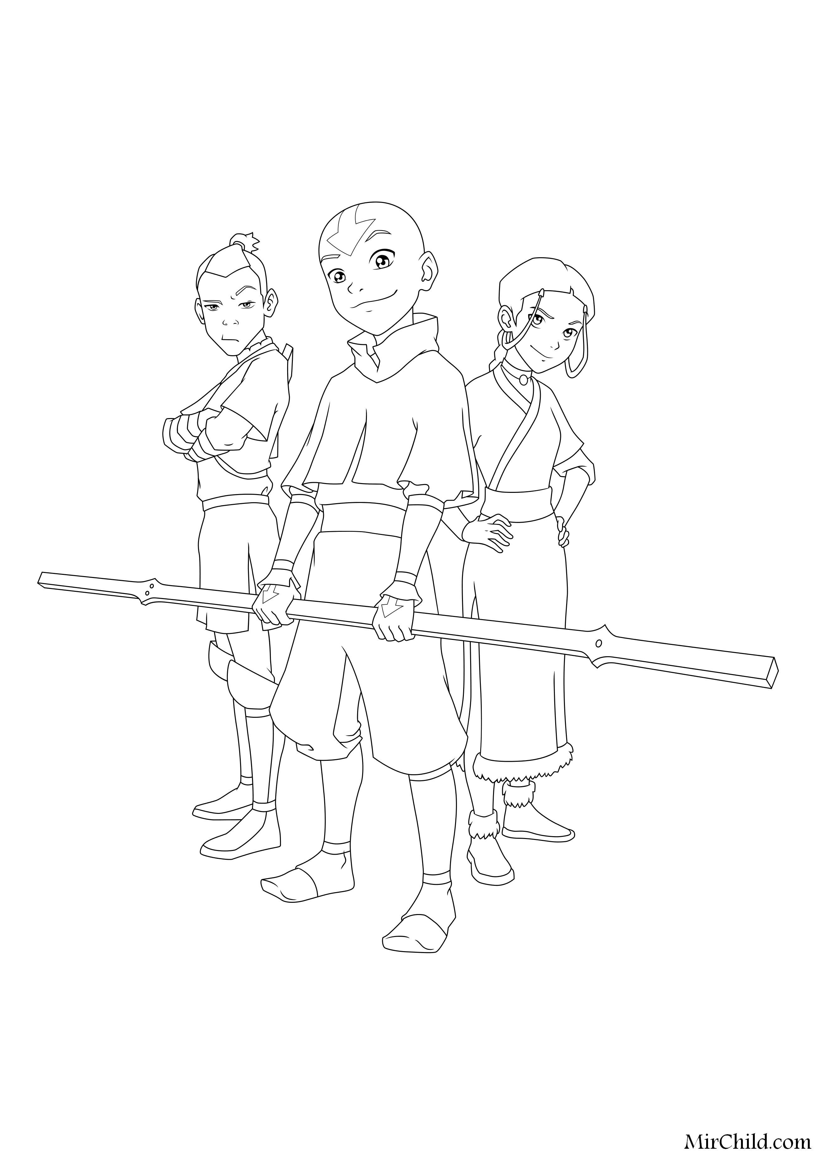 Raskraska Avatar Legenda Ob Aange Sokka Aang I Katara Mirchild