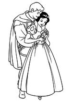 Раскраска Принц Фердинанд и Белоснежка с птичкой