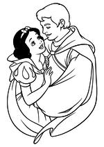 Раскраска Принц Фердинанд обнимает Белоснежку
