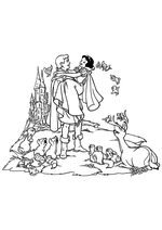 Раскраска Белоснежка с Принцем и зверятами
