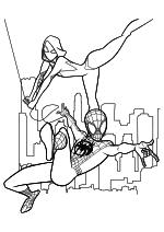Раскраска - Человек-паук: Через вселенные - Майлз Моралес и Гвен Стейси