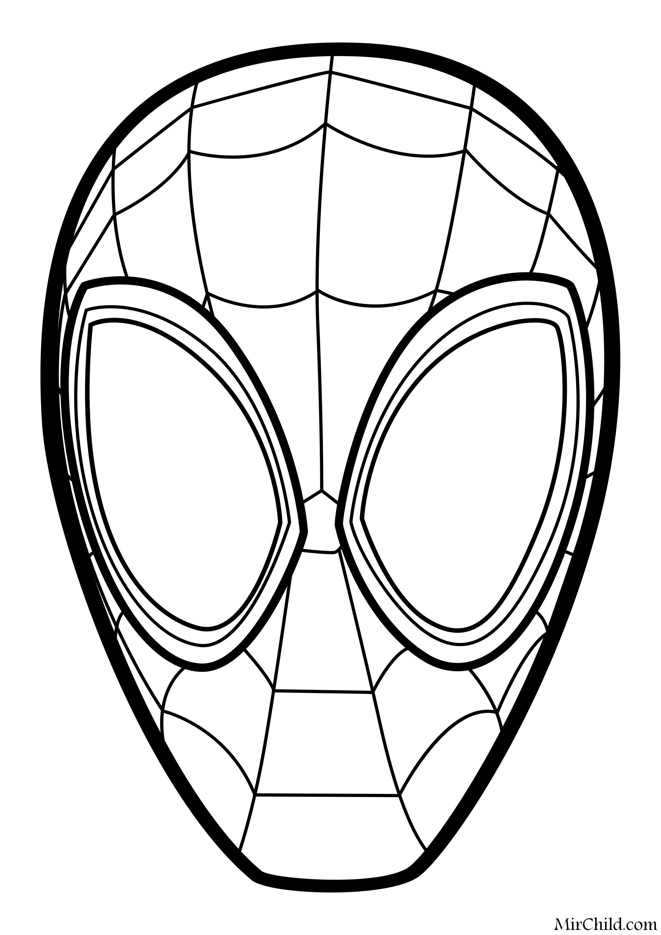 Раскраска - Человек-паук: Через вселенные - Маска человека ...