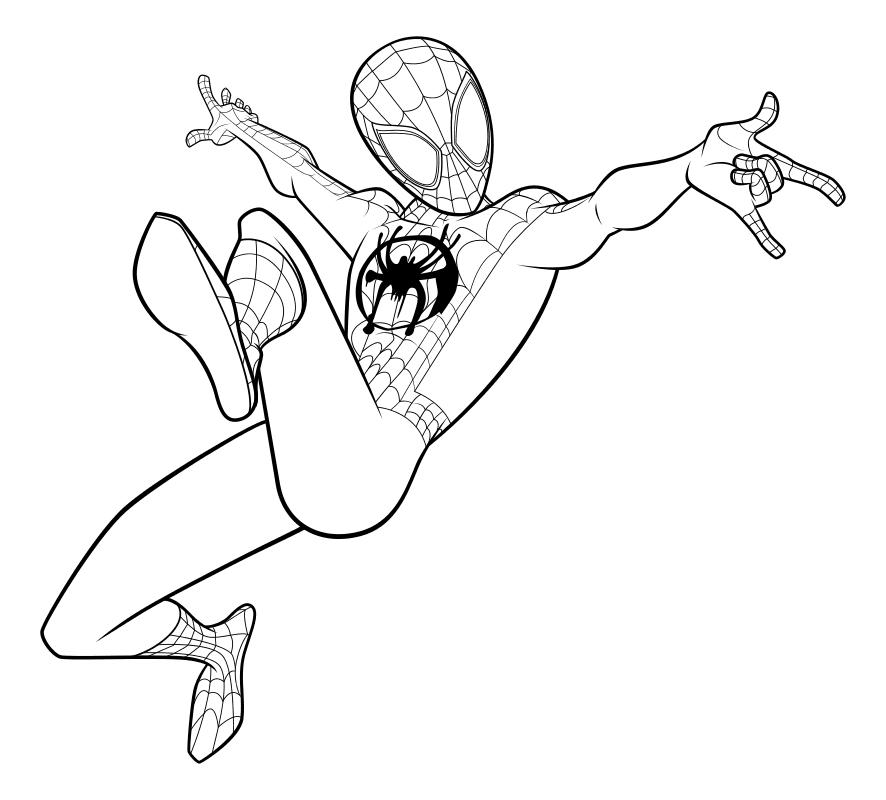 Раскраска - Человек-паук: Через вселенные - Майлз Моралес ...