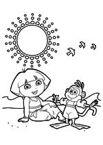 Раскраска - Даша-путешественница - Даша и обезьянка Башмачок на пляже