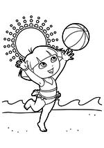 Раскраска - Даша-путешественница - Даша с мячом на пляже