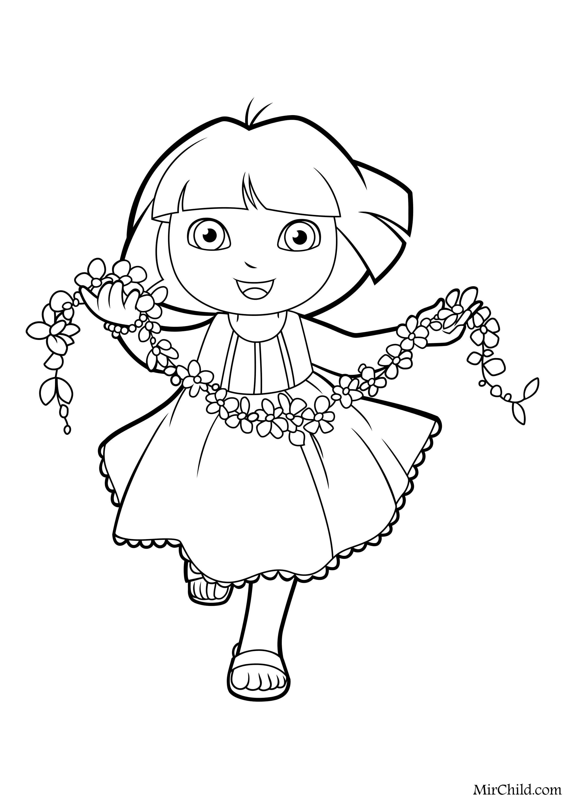 раскраски мультфильм даша путешественница Dora The