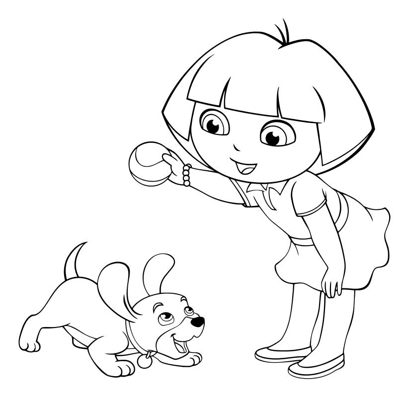 Раскраска - Даша-путешественница - Даша играет с щенком