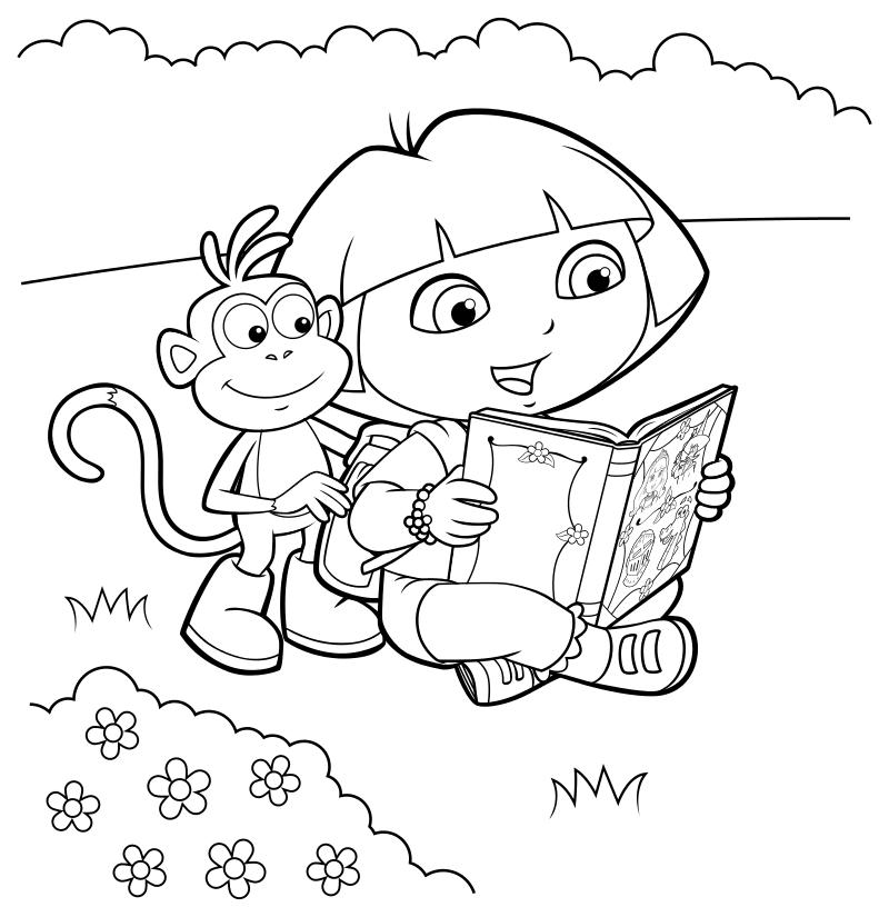 Раскраска - Даша-путешественница - Даша с Башмачком читают книгу