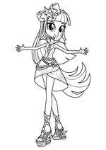 Раскраска - Мой маленький пони: Девочки из Эквестрии – Радужный рок - Сумеречная Искорка