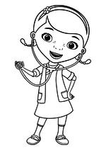 Раскраска Дотти использует стетоскоп