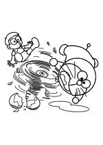 Раскраска - Дораэмон - Нобита, Дораэмон и торнадо