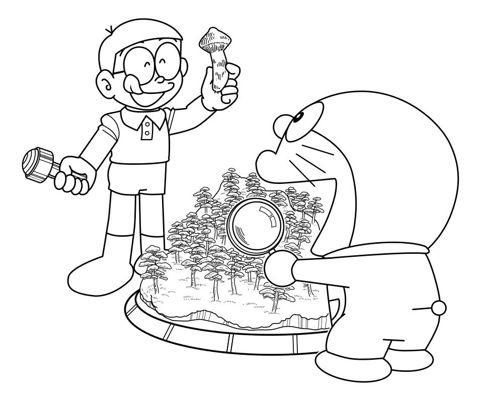 Раскраска - Дораэмон - Нобита и Дораэмон изучают грибы ...