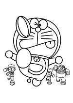 Раскраска - Дораэмон - Нобита, Дораэмон, Сунэо и Джаян