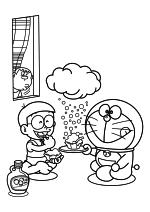 Раскраска - Дораэмон - Джаян подглядывает за Нобитой и Дораэмоном