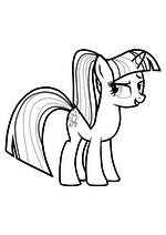 Раскраска - Мой маленький пони: Дружба – это чудо - Сумеречная Искорка c хвостиком
