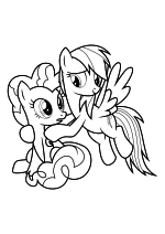Раскраска - Мой маленький пони: Дружба – это чудо - Пинки Пай и Радуга Дэш