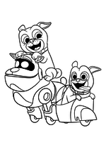 Раскраска - Дружные мопсы - Г.А.В., Бинго и Ролли
