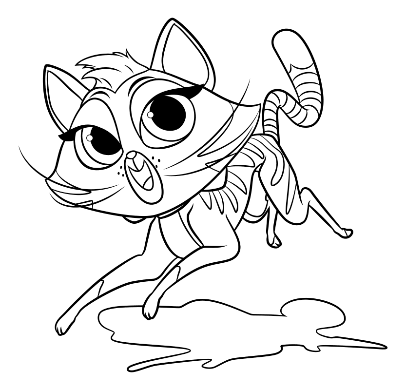 Раскраска - Дружные мопсы - Шипа в прыжке | MirChild