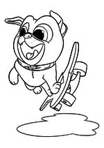 Раскраска - Дружные мопсы - Бинго на скейтборде