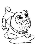 Раскраска - Дружные мопсы - Ролли в игривой позе