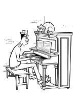 Раскраска - Душа - Джо Гарднер играет на пианино и кот