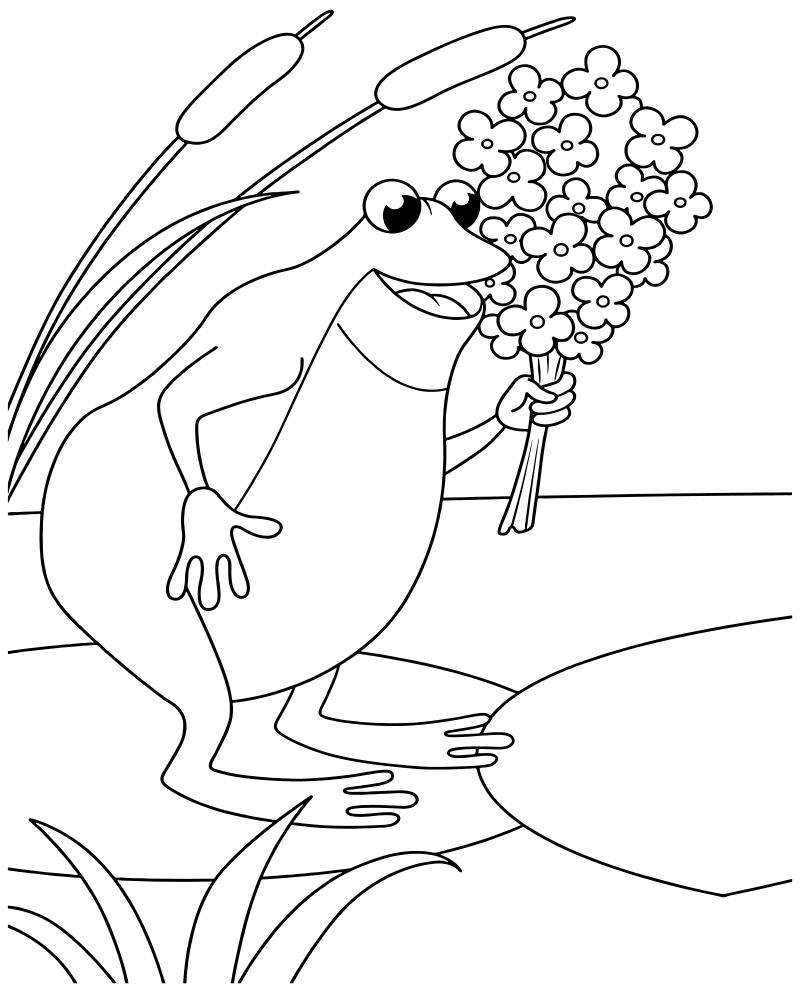 Раскраска - Дюймовочка - Жаба с букетом цветов