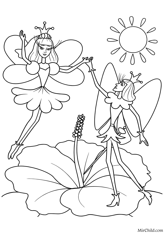 Раскраска - Дюймовочка - Дюймовочка и Принц эльфов | MirChild