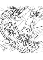 Раскраска - Джейк и пираты Нетландии - Джейк, Иззи и Кабби на горке