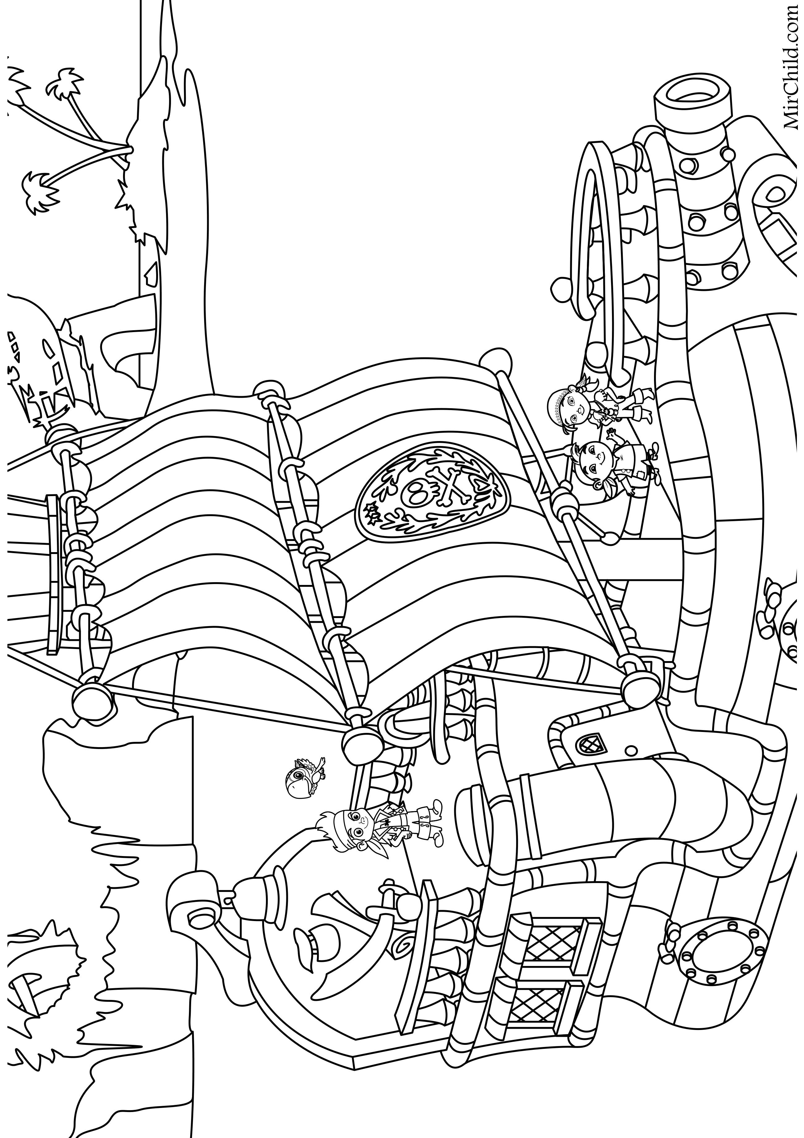раскраска джейк и пираты нетландии пиратский корабль