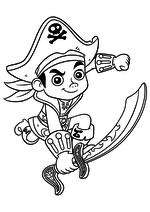 Раскраска - Джейк и пираты Нетландии - Капитан Джейк идёт в атаку