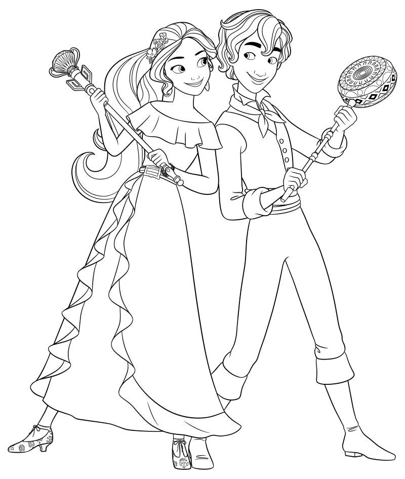 Раскраска - Елена - принцесса Авалора - Принцесса Елена и Матео