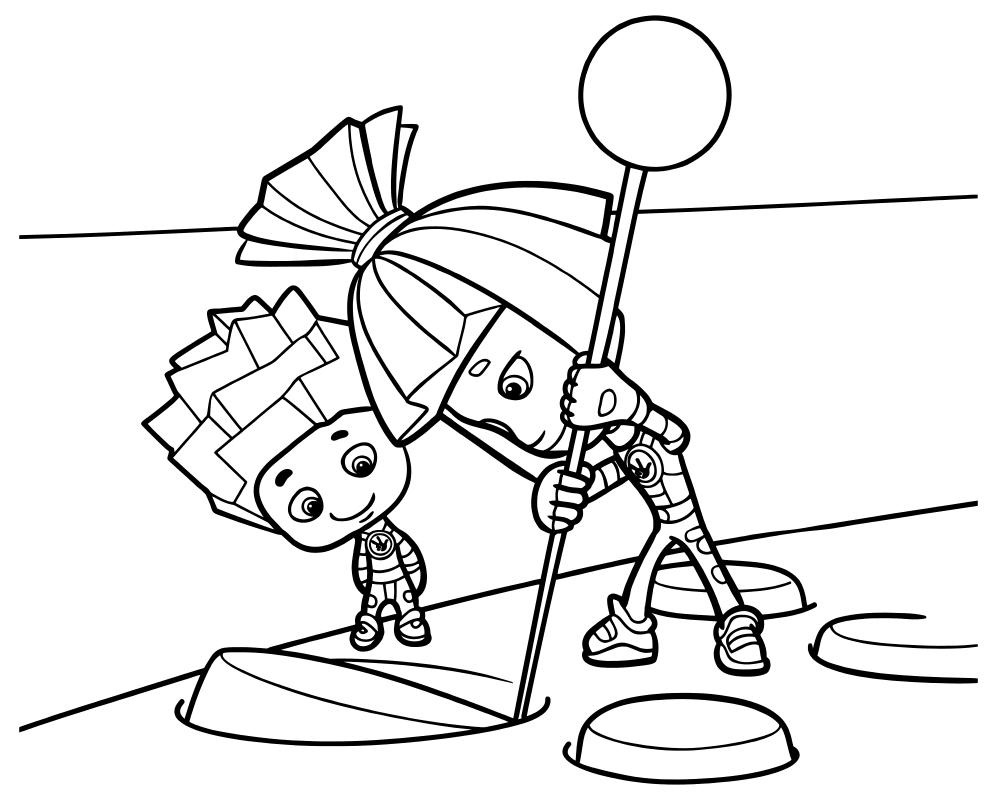 Раскраска - Фиксики - Симка и Нолик чинят пульт