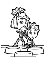 Раскраска - Фиксики - Симка защищает Нолика от Кусачки