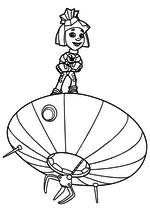 Раскраска - Фиксики - Симка на летающей тарелке