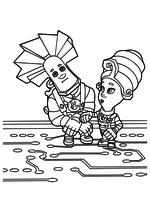 Раскраска - Фиксики - Папус и Мася внутри сотового телефона