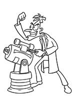 Раскраска - Финес и Ферб - Доктор Хайнц Фуфелшмертц и лазер