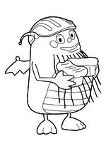Раскраска - Генри Обнимонстр - Дедуля в шлеме с хлебом
