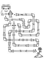 Раскраска - Город Грузовиков - Лабиринт - помоги Габби полить цветок
