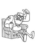 Раскраска - Гравити Фолз - Стэн сидит в кресле