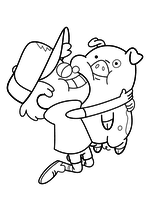 Раскраска - Гравити Фолз - Диппер обнимает Пухлю