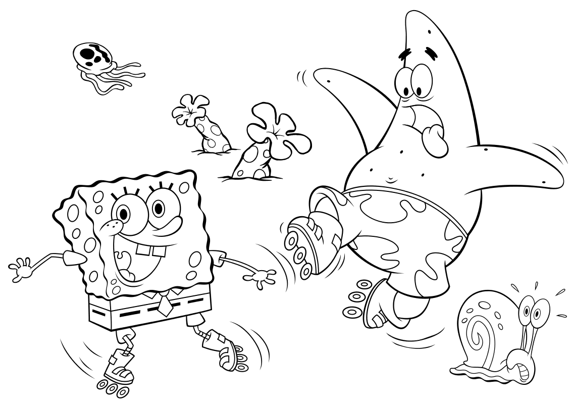 рисунки губка боб квадратные штаны и его друзья