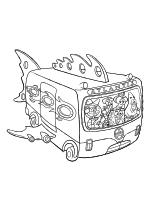 Раскраска - Губка Боб Квадратные Штаны - Сэнди, Крабс, Губка Боб, Сквидвард и Патрик в автобусе