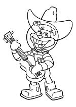 Раскраска - Губка Боб Квадратные Штаны - Сэнди Чикс играет на гитаре