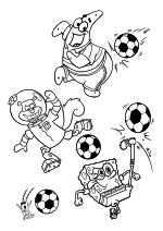 Раскраска - Губка Боб Квадратные Штаны - Планктон, Сэнди, Патрик и Губка Боб - футболисты