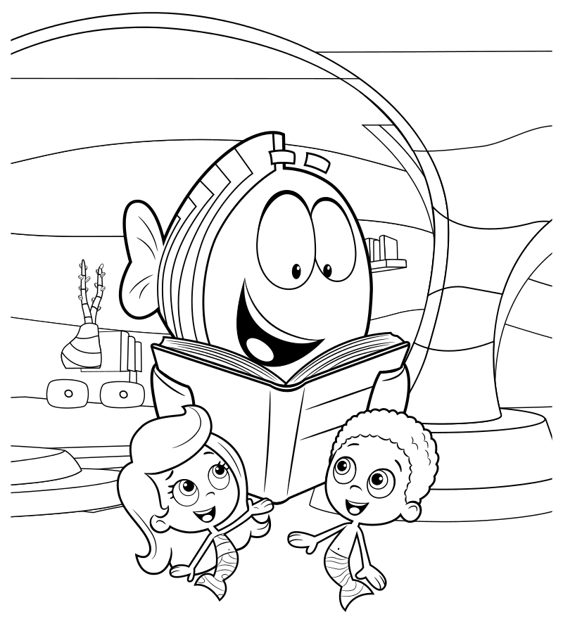 Раскраска - Гуппи и пузырики - Мистер Группер, Молли и Гоби